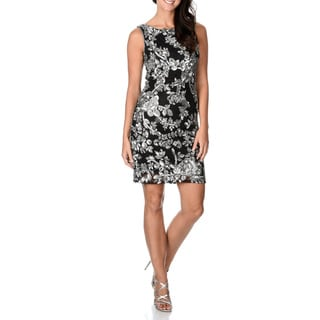 Patra Women's Floral Hand Beaded and Sequined Short Sheath Dress