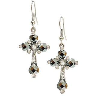 Bleek2Sheek Royal Heart Hematite Crystal and Rhinestone Cross Dangle Earrings