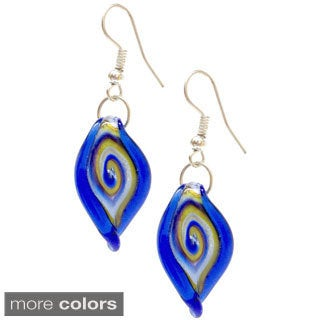 Bleek2Sheek Murano-inspired Glass Twisted Leaf Dangle Earrings
