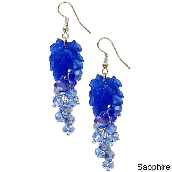 Bleek2Sheek Vine-ology Vine Leaf Crystal Cluster Earrings