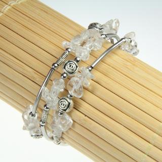 Handmade Tibetan Silver White Crystal Bangle (China)