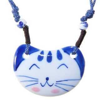 Handmade Ceramic Smiling Cat Necklace (China)