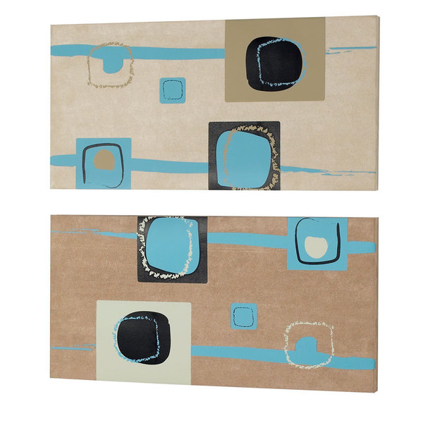 Silk and Fabric Teal Square Abstract Wall Art