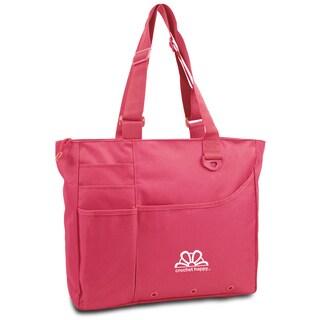 Crochet Happy Bright Bag 15inX13inX4in-Pink