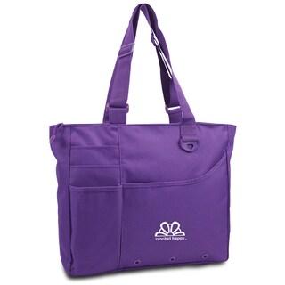 Crochet Happy Bright Bag 15inX13inX4in-Purple