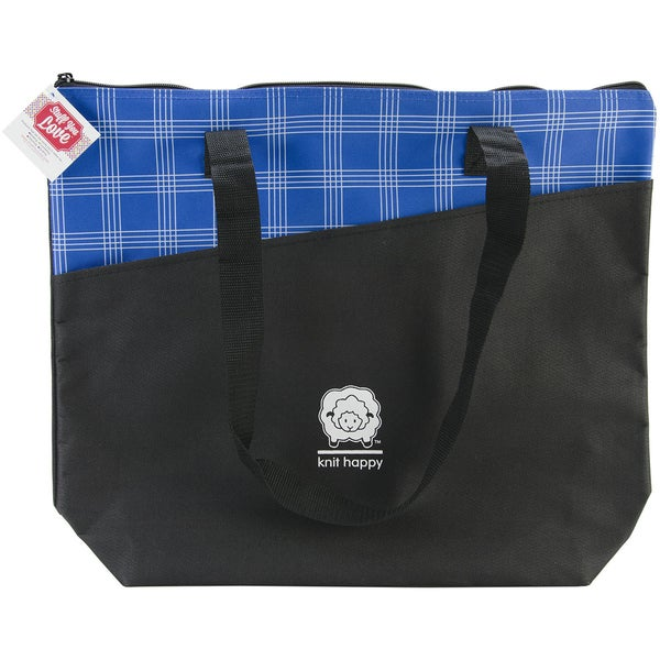 Knit Happy Mad For Plaid Tote 18inX15inX5in-Blue