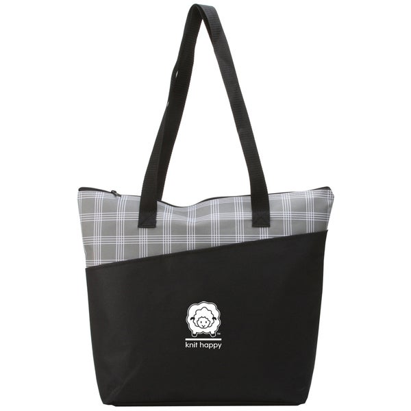 Knit Happy Mad For Plaid Tote 18inX15inX5in-Grey