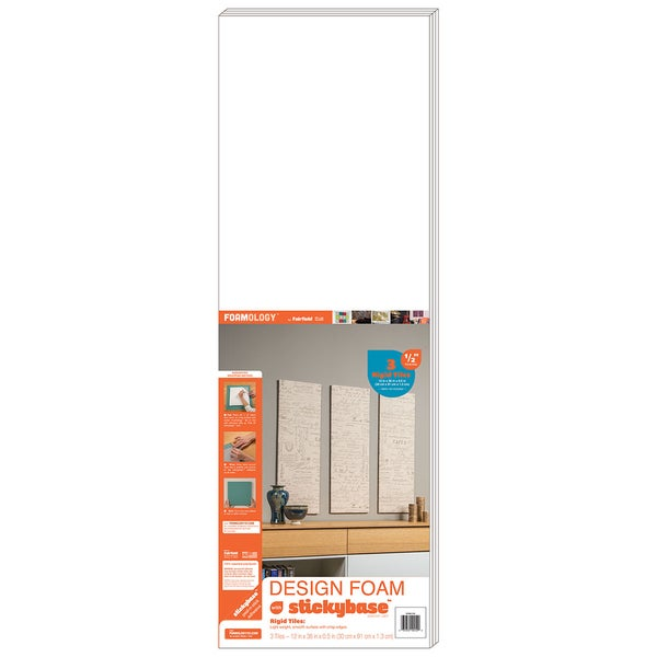 Design Foam Rigid 12inX36inX1/2in 3/Pkg-White