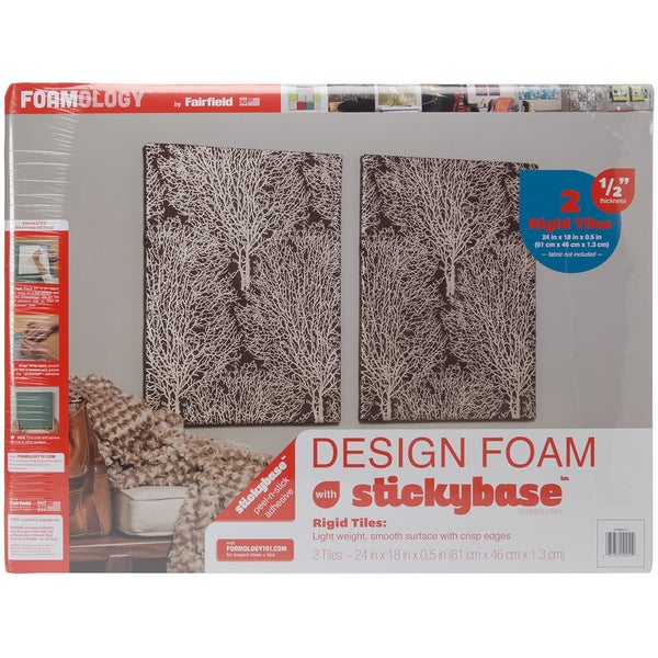 Design Foam Rigid 24inX18inX1/2in 2/Pkg-White