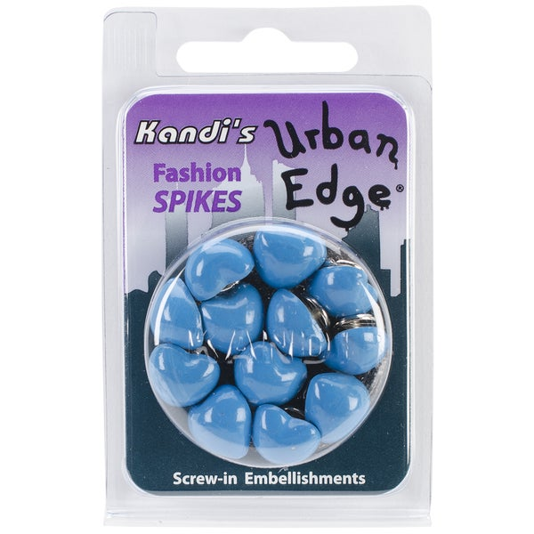 Urban Edge Heart Screwback Spike 12mmx5.7mm 12/Pkg-Blueberry Blue