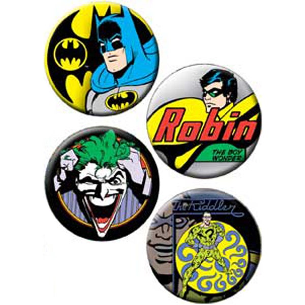 Button Set 4pc-Batman, Robin And Joker
