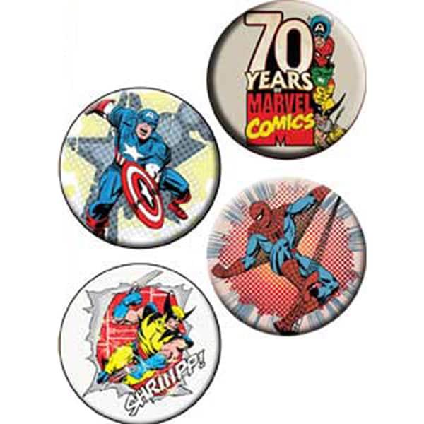 Button Set 4pc-Marvel Comics