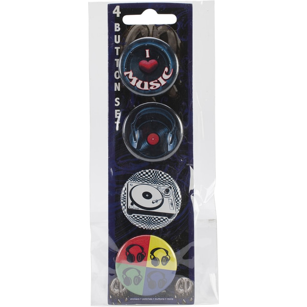 Button Set 4pc-Music