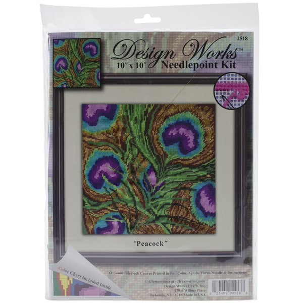 Peacock Needlepoint Kit-10inX10in
