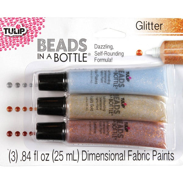 Tulip Beads In A Bottle Set .84oz 3/Pkg-Glitter