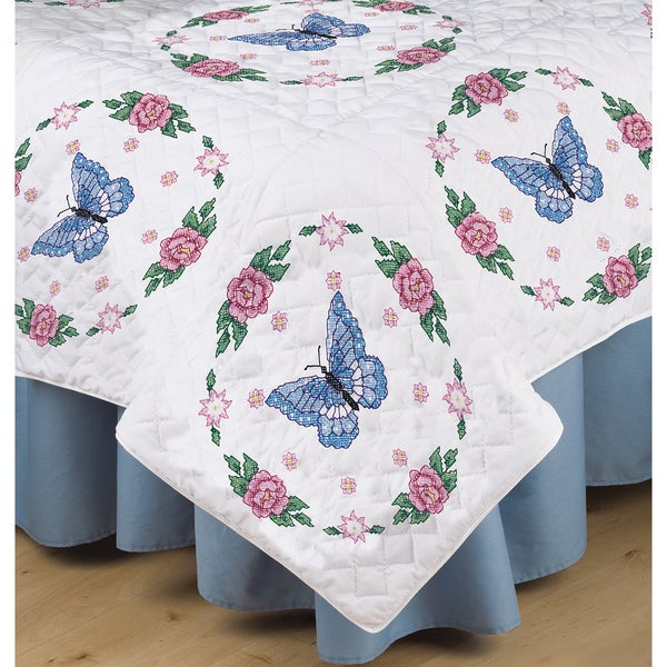 Stamped White Quilt Blocks 18inX18in 6/Pkg-Butterfly Rose