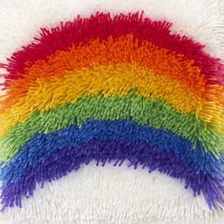 Shaggy Latch Hook Kit 12inX12in -Rainbow