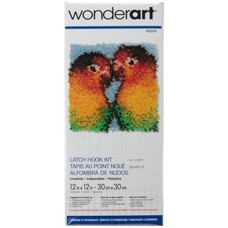 Wonderart Latch Hook Kit 12inX12in-Lovebirds