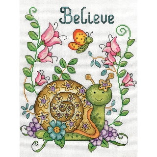Believe (Snail) Counted Cross Stitch Kit-8inX10in 14 Count