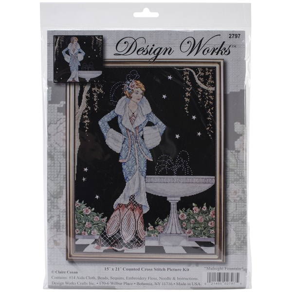 Midnight Fountain Counted Cross Stitch Kit-15inX21in 14 Count