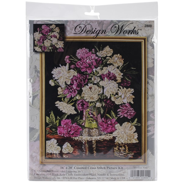 Peony Vase Counted Cross Stitch Kit-16inX20in 14 Count