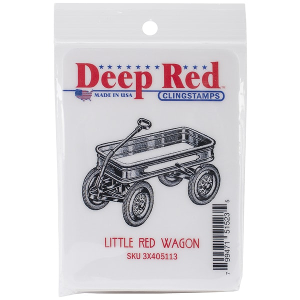 Deep Red Cling Stamp 2inX2in-Little Red Wagon