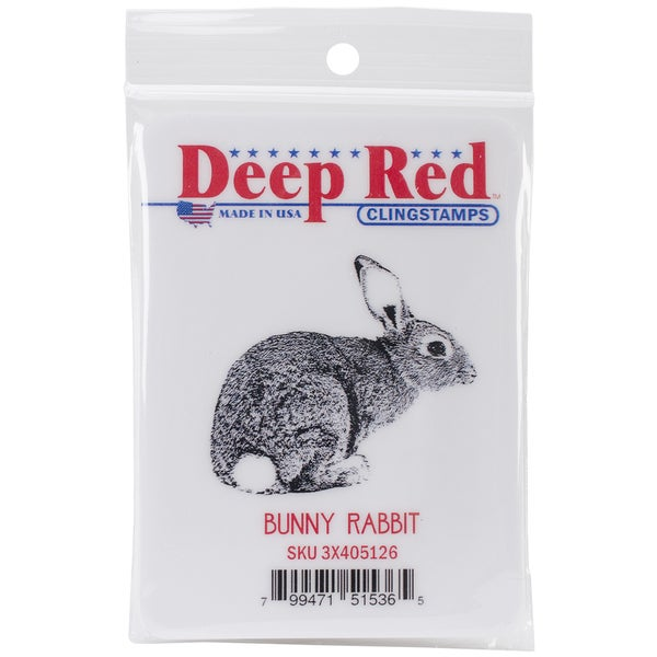 Deep Red Cling Stamp 2inX2in-Bunny Rabbit