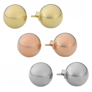 Fremada Gold Over Sterling Silver 6-mm Ball Stud Earrings (Yellow, Pink, Or White)
