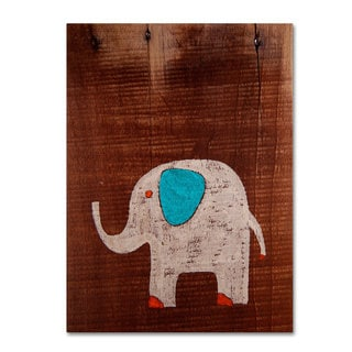 Nicole Dietz 'Elephant on Wood' Canvas Art