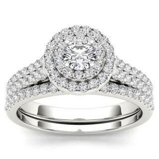 De Couer 10k White Gold 1ct TDW Diamond Double Halo Bridal Set (H-I, I2) with Bonus Necklace