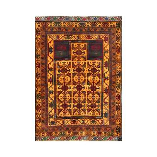 Herat Oriental Semi-antique Afghan Hand-knotted Tribal Balouchi Apricot/ Brown Wool Rug (3'1 x 4'3)