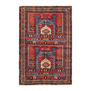 Herat Oriental Semi-antique Afghan Hand-knotted Tribal Balouchi Navy/ Red Wool Rug (2'8 x 3'11)