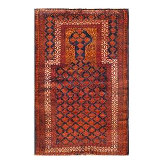 Herat Oriental Semi-antique Afghan Hand-knotted Tribal Balouchi Navy/ Brown Wool Rug (2'10 x 4'7)