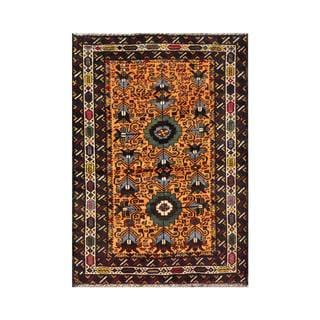 Herat Oriental Semi-antique Afghan Hand-knotted Tribal Balouchi Apricot/ Navy Wool Rug (2'10 x 4')
