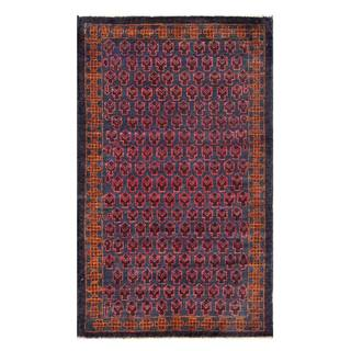 Herat Oriental Semi-antique Afghan Hand-knotted Tribal Balouchi Navy/ Red Wool Rug (2'10 x 4'8)