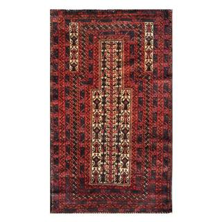 Herat Oriental Semi-antique Afghan Hand-knotted Tribal Balouchi Ivory/ Salmon Wool Rug (2'8 x 4'6)