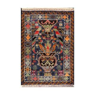 Herat Oriental Semi-antique Afghan Hand-knotted Tribal Balouchi Navy/ Brown Wool Rug (2'9 x 4'4)