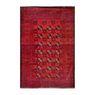 Herat Oriental Semi-antique Afghan Hand-knotted Tribal Balouchi Red/ Navy Wool Rug (3' x 4'4)