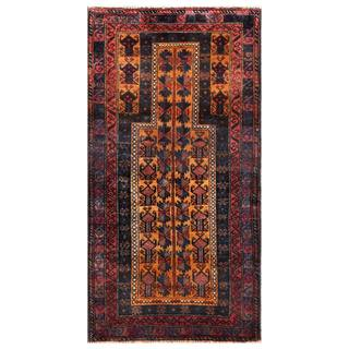 Herat Oriental Semi-antique Afghan Hand-knotted Tribal Balouchi Navy/ Brown Wool Rug (2'8 x 4'7)