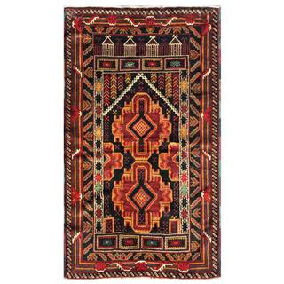 Herat Oriental Semi-antique Afghan Hand-knotted Tribal Balouchi Rust/ Tan Wool Rug (3' x 5')