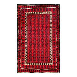 Herat Oriental Semi-antique Afghan Hand-knotted Tribal Balouchi Red/ Navy Wool Rug (2'11 x 4'6)