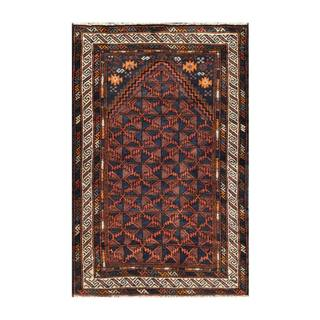Herat Oriental Semi-antique Afghan Hand-knotted Tribal Balouchi Navy/ Brown Wool Rug (2'10 x 4'4)