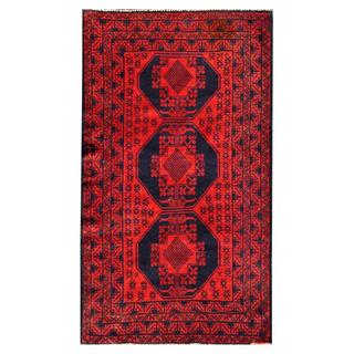 Herat Oriental Semi-antique Afghan Hand-knotted Tribal Balouchi Red/ Navy Wool Rug (2'9 x 4'11)