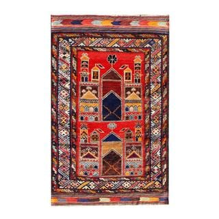 Herat Oriental Semi-antique Afghan Hand-knotted Tribal Balouchi Red/ Navy Wool Rug (2'9 x 4'5)