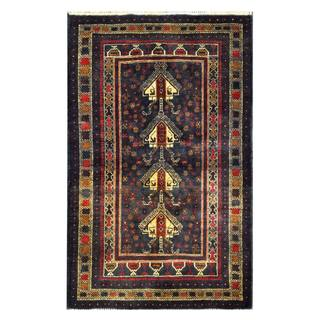 Herat Oriental Semi-antique Afghan Hand-knotted Tribal Balouchi Navy/ Beige Wool Rug (3'1 x 4'10)