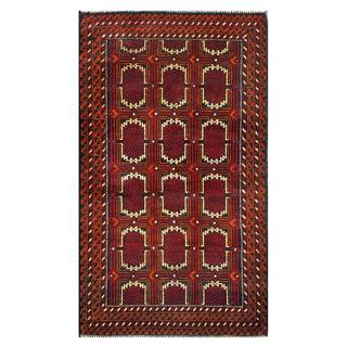 Herat Oriental Semi-antique Afghan Hand-knotted Tribal Balouchi Red/ Orange Wool Rug (2'10 x 4'8)