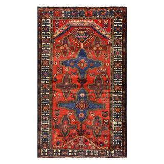 Herat Oriental Semi-antique Afghan Hand-knotted Tribal Balouchi Red/ Blue Wool Rug (2'9 x 4'7)