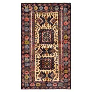 Herat Oriental Semi-antique Afghan Hand-knotted Tribal Balouchi Beige/ Salmon Wool Rug (2'11 x 5')