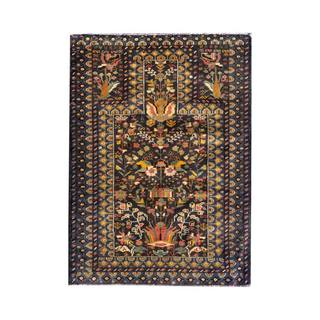 Herat Oriental Semi-antique Afghan Hand-knotted Tribal Balouchi Navy/ Gold Wool Rug (3'1 x 4'2)