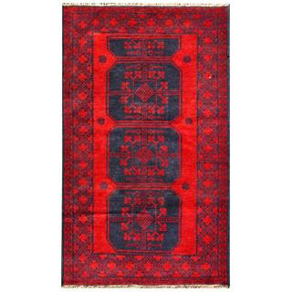 Herat Oriental Semi-antique Afghan Hand-knotted Tribal Balouchi Navy/ Red Wool Rug (2'11 x 4'10)